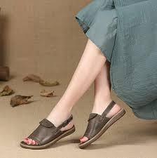Women <b>Handmade</b> Leather Peep Toe <b>Adjustable</b> Buckle Sandals ...
