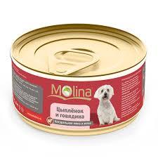 """<b>Консервы</b> для собак <b>Molina</b> """"Цыпленок и <b>говядина</b>"""" <b>натуральное</b> ..."""