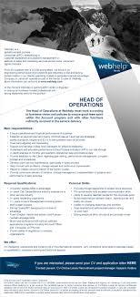 job ad head of operations riga full time work online job ad head of operations riga full time work online recruitment online darba pied257v257jumi vakances person257la atlase