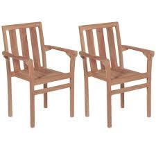 【USA Warehouse】<b>Stacking Garden Chairs 2</b> pcs Solid Teak Wood