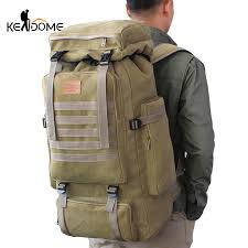 60L Large Military Bag Canvas Backpack Tactical Bags Camping ...