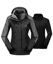 donhobo Womens <b>3 In 1</b> Jackets Waterproof Fleece Softshell Jacket ...