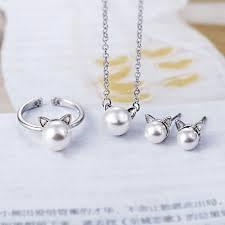 <b>TJP</b> Cute CAT Shaped Women Party Jewelry Sets 925 Silver ...