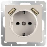 <b>Розетка</b> Werkel WL03-SKGS-USBx2-IP20,16А, с <b>защитной</b> ...