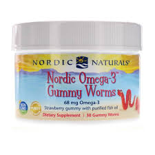 <b>Nordic Omega-3 Gummy Worms</b> Strawberry, Nordic Naturals