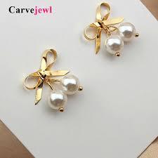 2019 <b>Carvejewl</b> Korean Design <b>Drop Earrings</b> Metal Bow Knot ...