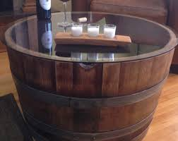 wine barrell furniture reversible reclaimed half wine barrel table with tempered glass top arched napa valley wine barrel table