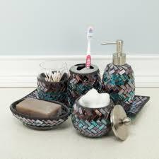 glass bathroom accessories decor  glass mosaic bath accessories metallic colors black purple