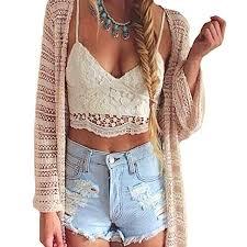 Romacci <b>Women Crochet</b> Tank Camisole Lace Vest Blouse Bralette ...