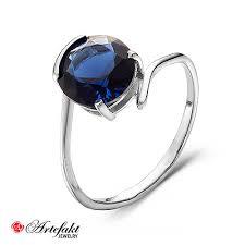 <b>Серебряное кольцо с синим</b> фианитом - 558