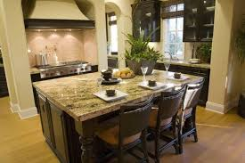 countertops dark wood kitchen islands table: chairs continue the color scheme of the room with dark wood and neutral tan seats