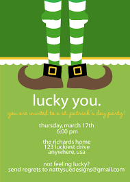 st patrick s day party invitation printable and custom retro st patrick s day party invitation love the dangling feet idea could work for any holiday theme bunny cupid elf witch turkey baby etc
