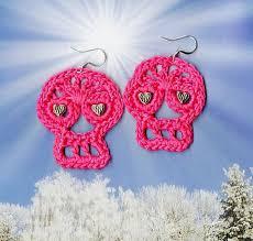 Crochet Day of the Dead Sugar Skull Earrings pattern by ... - Ravelry