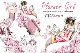 <b>Watercolor</b> Planner <b>Girl</b> Clipart ~ Illustrations ~ Creative Market