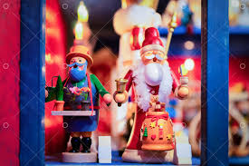 Wooden <b>Christmas tree</b> toys and <b>Santa Claus</b> in Christmas market in ...