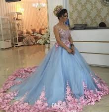 Baby Blue 3D Floral Masquerade Ball Gowns 2019 <b>New Luxury</b> ...