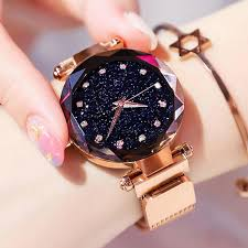 <b>Luxury</b> Rose Gold <b>Women Watches</b> Starry Sky <b>Magnetic</b> Female ...