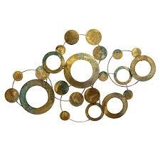 mirror wall decor circle panel: heavenly stratton home decor metal metallic circles wall multi half circle art s full