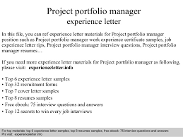 project portfolio manager experience letterinterview questions and answers –      pdf and ppt file project portfolio manager experience