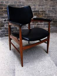 mid century walnut leather side chair black leather mid century