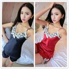<b>Ladies Sexy Silk Satin</b> Pajama Set Lace Pyjama Set V-neck Women ...