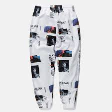 <b>HFNF Harem Pants Graphic</b> Print Pencil males Pants Elastic Waist ...