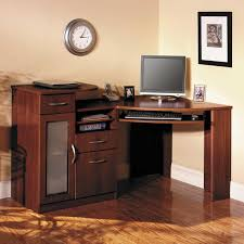 custom cherry wood corner computer desk with storage cabinet and frosted glass door panel also double amusing double office desk
