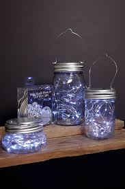 led mason jar lids with fairy lights battery op cool white fits a wide blue mason jar string lights