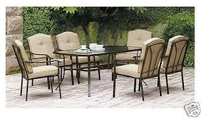 patio table and 6 chairs:  patio furniture dining set  piece outdoor deck pool glass table  chairs tan dbbdeabbdbe