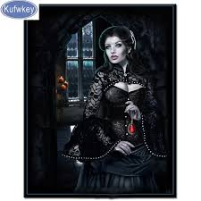 <b>Gothic</b> ruby woman diamond embroidery sale <b>Halloween</b> gift ...