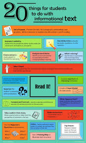 best ideas about informational texts reading 20 things for students to do informational text infographic