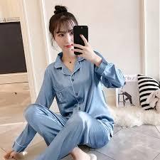 ﹉M-5XL Pajamas <b>Female</b> Xia long sleeve short <b>sexy simulation Silk</b> ...
