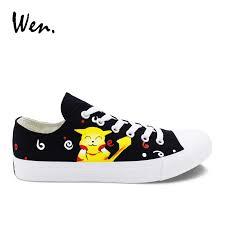 <b>Wen</b> Black Low Top <b>Casual Flat</b> Men <b>Canvas Shoes</b> Pokemon ...