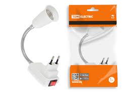 Переходник <b>вилка</b>-<b>Е27</b> гибкий 150мм с выключателем, белый, <b>TDM</b>