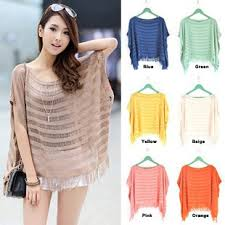 Knitted Short Sleeve Fringe <b>Summer Cape</b> Top/Hollow Out <b>Loose</b> ...