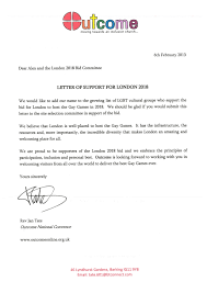 outcome letter of support gay games london bid