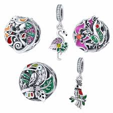 <b>BISAER High Quality</b> 925 Sterling Silver Tropical Forest Animal ...
