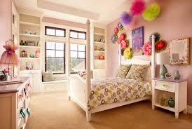 amusing kids bedroom design for girls displaying charming decorative wall decor and white lacquer wooden canopy bedroom york decor charming kid bedroom design