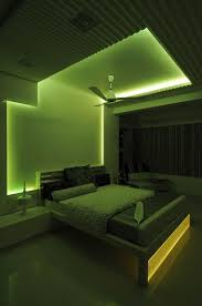master bedroom with green neon light design by architect sonali shah india bedroom lighting design