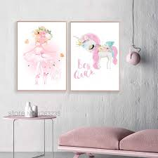 <b>Pink</b> Unicorn Nordic Poster Flower Princess <b>Cuadros Decoration</b> ...