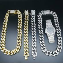 2cm Hip Hop Jewelry Crystal Miami Cuban <b>Chain</b> Luxury Men Gold ...