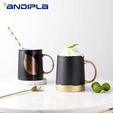 340ml Vintage Luxury <b>Gold Plated</b> Handle Cup Matte Black Ceramic ...