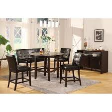 size dining room contemporary counter: bossa  piece round counter height dining table set in dark chocolate with black leatherette seats