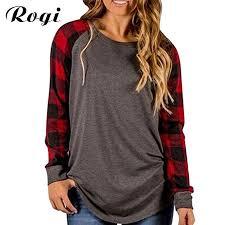 Rogi <b>Plus Size</b> Female T Shirt <b>2019 Plaid</b> Raglan T Shirts For ...
