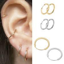 3 Pairs <b>Simple</b> Alloy <b>Hoop Earrings Fashion</b> Pendant <b>Stud</b> Jewelry ...