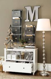 a bookshelf file storage and wall pockets turn a small sliver of wall into charming office craft home wall storage
