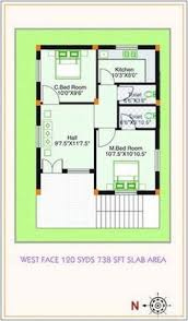 sq yds  x  sq ft west face house  bhk floor plan For more    WEST FACING SMALL HOUSE PLAN   Google Search
