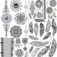 <b>Sexy Black Feather</b> Mandala Flower Henna Temporary Tattoos ...