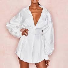 2020 <b>CYSINCOS</b> Sexy White Dress <b>Women</b> Lace Up T <b>Shirt</b> Dress ...