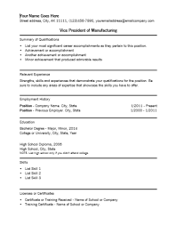 vice president of manufacturing resume template